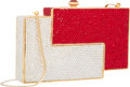"""Luxury Accessories:Bags, Judith Leiber Full Bead Red & Silver Crystal Geometric Eclipse Minaudiere Evening Bag. Excellent Condition. 5.5"""" Width..."""
