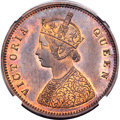 India:British India, India: British India. Victoria Proof 1/2 Anna 1862-(C) PR64 Red and Brown NGC,...