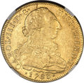 Colombia, Colombia: Charles III gold 8 Escudos 1783 NR-JJ UNC Details (Bent)NGC,...