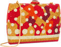 "Luxury Accessories:Bags, Judith Leiber Full Bead Red & Orange Crystal Collage MinaudiereEvening Bag . Excellent Condition. 6"" Width x 4""Heigh..."