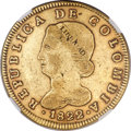 Colombia, Colombia: Republic gold 8 Escudos 1822 B-JF VF25 NGC,...