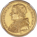 Italy, Italy: Papal States. Gregory XVI gold 5 Scudi 1835-R Anno V AU55NGC,...