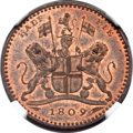 India:Bengal Presidency, India: Bengal Presidency. British Colony copper Proof Pattern 1/2 Pie 1809 PR63 Red and Brown NGC,...