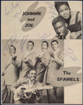 Music Memorabilia:Autographs and Signed Items, The Spaniels and Johnnie & Joe Signed Page....