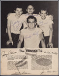 Music Memorabilia:Autographs and Signed Items, Buddy Holly & the Crickets Signed Page, circa 1957....