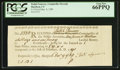 Colonial Notes:Connecticut, Connecticut Dec. 9, 1789 Ralph Pomeroy Comptroller Receipt PCGS GemNew 66PPQ.. ...