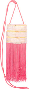 Luxury Accessories:Bags, Judith Leiber Full Bead Pink & Silver Crystal and Fringe TrainCase Minaudiere Evening Bag. Very Good to ExcellentConditi...