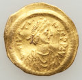 Ancients:Byzantine, Ancients: Justin I (AD 518-527). AV tremissis (1.42 gm)....