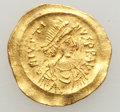 Ancients:Byzantine, Ancients: Justin I (AD 518-527). AV tremissis (1.49 gm)....