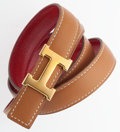 Luxury Accessories:Accessories, Hermes 65cm Rouge Vif Calf Box & Vache Naturelle LeatherReversible H Belt with Gold Hardware. Very Good Condition..7...