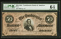 Confederate Notes:1864 Issues, T66 $50 1864 PF-6 Cr. UNL.. ...