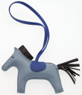 "Luxury Accessories:Accessories, Hermes Blue Lin, Blue Electric, & Black Agneau Leather RodeoHorse Charm. Excellent Condition. 4.5"" Width x 4"" Height..."