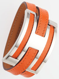 Hermes Orange H Calf Box Leather Pousse Pousse Bracelet with Palladium Hardware Very Good Condition