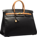 "Luxury Accessories:Bags, Hermes Special Order 40cm Black & Natural Ardennes LeatherBirkin Bag with Gold Hardware. Excellent Condition. 15.5""W..."