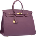 "Luxury Accessories:Bags, Hermes 40cm Cassis Fjord Leather Birkin Bag with Gold Hardware. Excellent to Pristine Condition. 15.5"" Width x 11"" Hei..."
