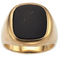 Estate Jewelry:Rings, Gentleman's Black Onyx, Gold Ring. ...