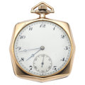 Timepieces:Pocket (post 1900), Swiss 17 Jewels Octagonal Pocket Watch. ...