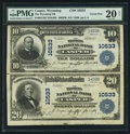 National Bank Notes:Wyoming, Casper, WY - $10-$20 1902 Plain Back Fr. 631/657 The Wyoming NB Ch.# 10533 Uncut Pair. ...