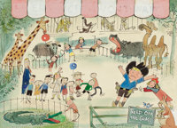 Ludwig Bemelmans (American, 1898-1962) Children at the Zoo Gouache, watercolor, and ink on board