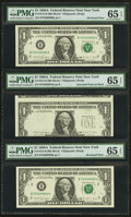 Error Notes:Third Printing on Reverse, Fr. 1915-B $1 1988A Federal Reserve Notes. Three Consecutive Examples. PMG Gem Uncirculated 65 EPQ.. ...