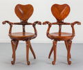 Furniture , After Antoni Gaudí (Spanish, 1852-1926). Pair of Chairs, circa 1970, Casa Calvet. Oak. 39 x 25-1/2 x 20 inches (99.1 x 6... (Total: 2 Items)