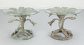 Furniture : American, Arthur Court (American, 1928-2015). Pair of Lily Side Tables, circa 1970. Bronze with green patina, glass. 18-3/4 inches... (Total: 4 Items)