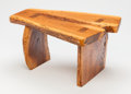 Furniture , American School (20th Century). Small Slab Bench. Walnut. 10 x 19-1/4 x 14 inches (25.4 x 48.9 x 35.6 cm). Incised H ...