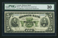 Canadian Currency: , Montreal, PQ- Molsons Bank $5 Jan. 2, 1900 Ch. # 490-22-18 . ...
