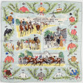 "Luxury Accessories:Accessories, Hermes 90cm Blue & Green ""Course a Chantily,"" by Maurice DeTaquoy Silk Scarf. Very Good to Excellent Condition. 36""W..."