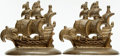 Books:Furniture & Accessories, [Bookends]. Pair of Matching Bronze Galleon Bookends. Marked COPR(901), 1980 on versos. ...