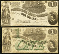 Confederate Notes:Group Lots, T44 $1 1862 PF-3 Cr. 341. T45 $1 1862 PF-2 Cr. 342. ... (Total: 2notes)