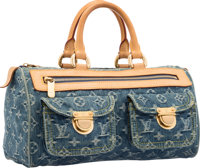 "Louis Vuitton Monogram Denim Neo Speedy Bag Good to Very Good Condition 12"" Width x 6"" Height x 6"