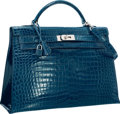 Luxury Accessories:Bags, Hermes 40cm Shiny Blue Roi Porosus Crocodile Sellier Kelly Bag withPalladium Hardware. Very Good to Excellent Condition...