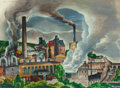 Fine Art - Painting, American, William S. Schwartz (American, 1896-1977). Paper Mill.Watercolor and gouache on paper. 21-1/4 x 29 inches (54.0 x 73.7...