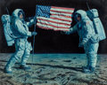 Paintings, Mort Künstler (American, b. 1931). The Giant Leap for Mankind, 1977. Oil on board. 15-1/2 x 19 inches (39.4 x 48.3 cm). ...