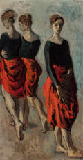 Post-War & Contemporary, Moses Soyer (American, 1899-1974). Dancers. Oil on canvas.31 x 16 inches (78.7 x 40.6 cm). Signed upper right:MSoyer...