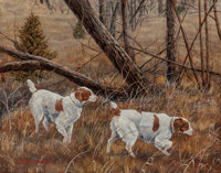 Jan Martin McGuire (American, b. 1955) Brittanies on the Scent, 1985 Oil on board 15-1/2 x 19-1/2
