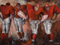 Post-War & Contemporary, Ernie Barnes (American, 1938-2009). Football Players. Oil onboard. 30 x 40 inches (76.2 x 101.6 cm). Signed lower right...
