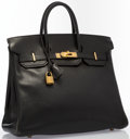 """Luxury Accessories:Accessories, Hermes 32cm Black Ardennes Leather HAC Birkin Bag with Gold Hardware. Good Condition. 12.5"""" Width x 10.5"""" Height x 6"""" ..."""