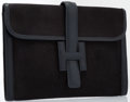 "Luxury Accessories:Accessories, Hermes Black Canvas & Calf Box Jige Elan H Clutch Bag. Goodto Very Good Condition. 11"" Width x 7"" Height x 1""Depth..."