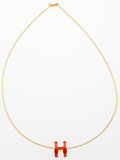 """Luxury Accessories:Accessories, Hermes Coral Red & Gold Lacquered Pop H Necklace. ExcellentCondition. 17"""" Length. ..."""