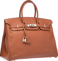 """Hermes 35cm Natural Buffalo Leather Birkin Bag with Palladium Hardware Very Good Condition 14"""" Wi"""