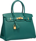 "Luxury Accessories:Bags, Hermes 30cm Malachite Togo Leather Birkin Bag with Gold Hardware .Excellent to Pristine Condition . 12"" Width x 8""He..."