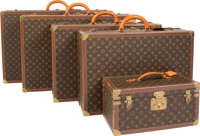 "Louis Vuitton Set of Five; Classic Monogram Canvas Trunks & Travel Case Excellent Condition 32"" W"
