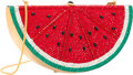 """Luxury Accessories:Bags, Judith Leiber Full Bead Red & Green Crystal Watermelon Minaudiere Evening Bag. Very Good Condition. 6"""" Width x 3"""" Heig..."""