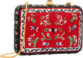 """Luxury Accessories:Bags, Judith Leiber Full Bead Red & Black Crystal Oriental CarpetMinaudiere Evening Bag. Excellent Condition. 6"""" Width x4""""..."""