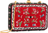 Judith Leiber Full Bead Red & Black Crystal Oriental Carpet Minaudiere Evening Bag Excellent Condition<...