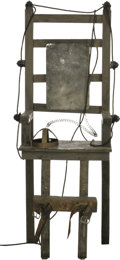 "Movie/TV Memorabilia:Props, ""Addams Family"" Electric Chair. It's creepy and it's kooky, andaltogether spooky: This (non-functioning) electric chair pro... (1)"