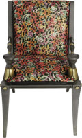 "Movie/TV Memorabilia:Props, ""Cleopatra"" Painted Palace Chair Prop. A gold-and-black paintedwooden palace chair from the 1963 movie, with floral-decorat..."