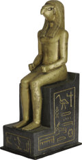 "Movie/TV Memorabilia:Props, ""Cleopatra"" Seated Figure Prop Statue. Gold-painted statue of aseated figure with bird's head. Restored and repainted, it i..."